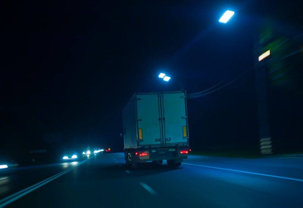 Truck driving in the night