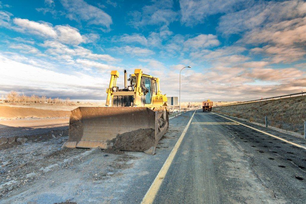 bulldozer in a road construction site