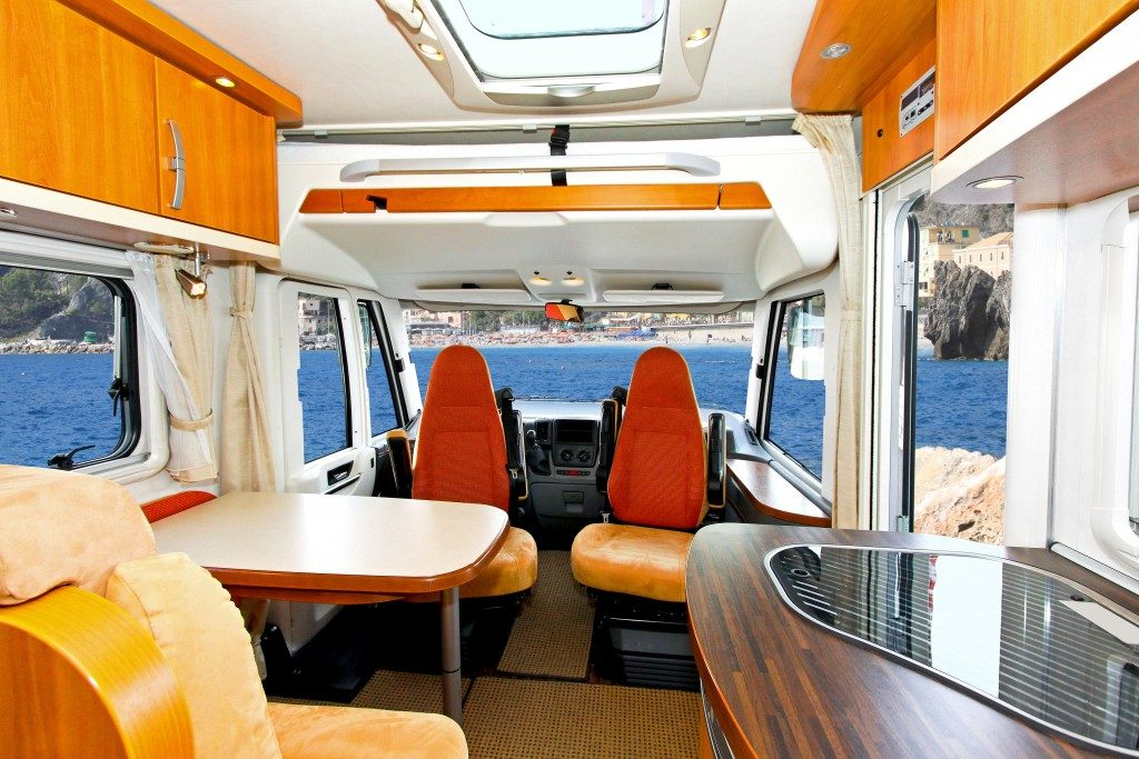 Interior of dining area in recreation vehicle
