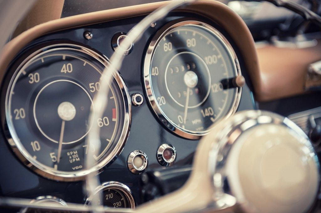 dashboard of a vintage car