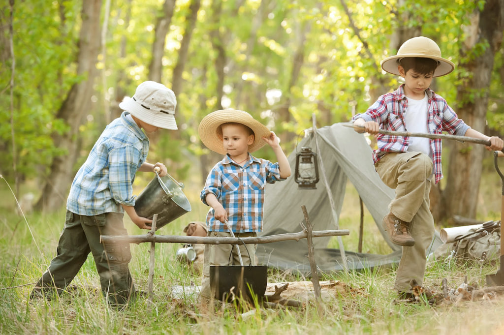 Children out camping