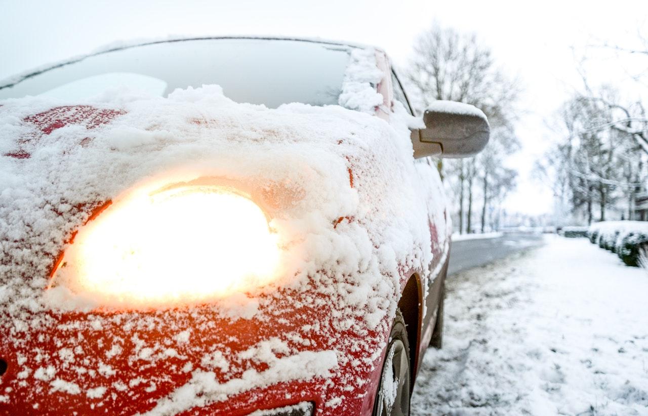 car headlight and snow