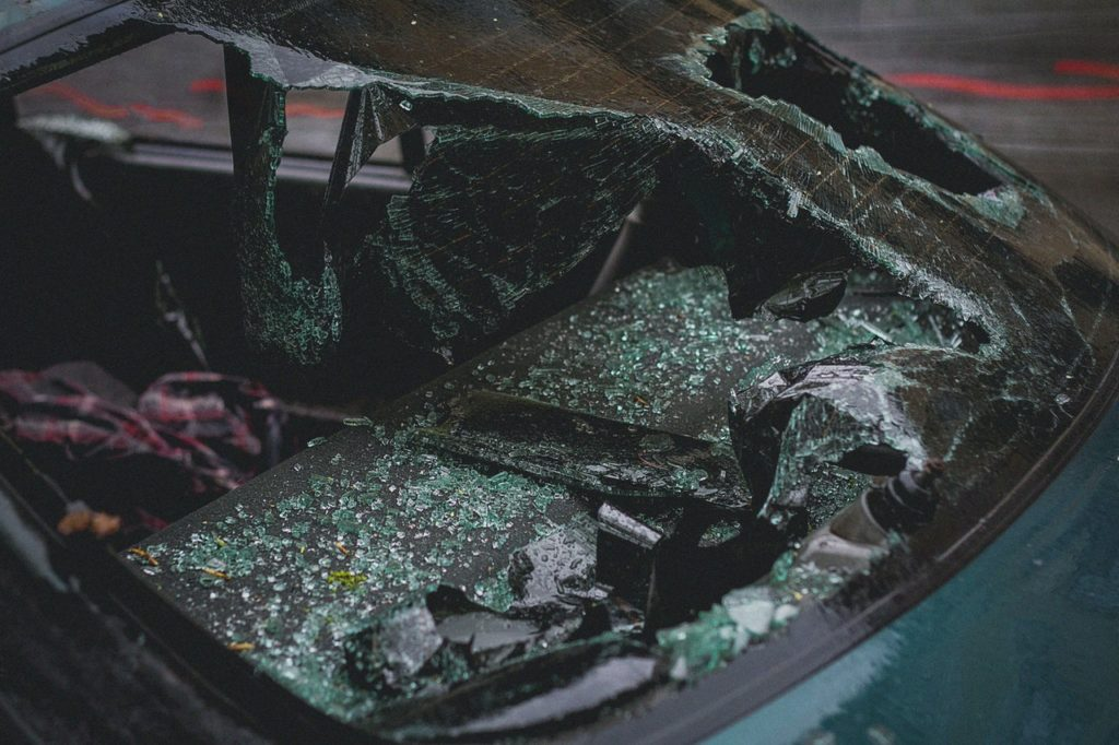 broken windshield of a car